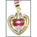 Diamond Heart Pendant Ruby Gemstone 14K Yellow Gold [P_164]