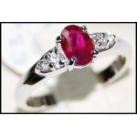 Solitaire Ring Oval Ruby and Diamond Solid 18K White Gold [RS0094]
