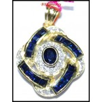 14K Yellow Gold Jewelry Diamond Blue Sapphire Pendant [P_161]