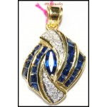 Genuine Blue Sapphire Pendant Diamond 14K Yellow Gold [P_155]