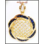 Diamond Blue Sapphire Brooch/Pendant Jewelry 18K Yellow Gold [I_001]