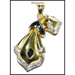 18K Yellow Gold Genuine Diamond Blue Sapphire Brooch/Pendant [I_015]