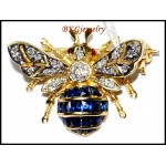Blue Sapphire Bee Brooch/Pin Unique Diamond 18K Yellow Gold [I019_1]