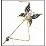 Eternity Diamond Blue Sapphire Butterfly Brooch/Pin 18K Yellow Gold [I_020]