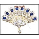 Genuine Blue Sapphire Diamond Brooch/Pin 18K Yellow Gold [I_031]