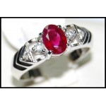Solitaire Ring Solid 18K White Gold Ruby and Diamond [RS0102]