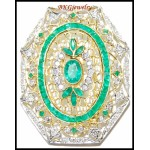 Natural Gemstone Diamond Emerald Brooch/Pin 18K Yellow Gold [I_030]