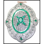 Gemstone Emerald Brooch/Pin Diamond Jewelry 18K White Gold [I_029]