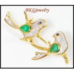 Diamond Emerald Couple birds Brooch/Pin Gemstone 18K Yellow Gold [I_002]