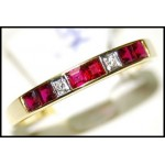 18K Yellow Gold Ruby and Diamond Band Ring [R0025]