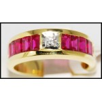 Center Diamond and Baguette Ruby Ring Solid 18K Yellow Gold [R0035]