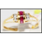 18K Yellow Gold Diamond and Natural Ruby Ring [R0042]