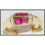 Four Square Ruby Ring and Diamond 18K Yellow Gold [R0054]
