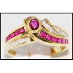 18K Yellow Gold Diamond and Natural Ruby Ring [R0055]