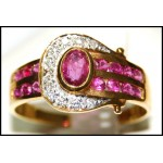 18K Yellow Gold Diamond and Natural Ruby Ring [R0121]