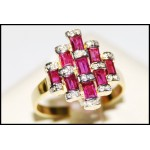 18K Yellow Gold Baguette Ruby Cut and Diamond Ring [RF0011]