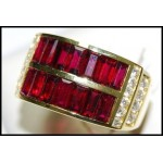 Gorgeous Baguette Ruby and Diamond Solid 18K Yellow Ring [RQ0016]