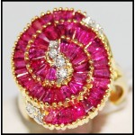 Circle Baguette cut Ruby and Diamond Ring Solid 18K Yellow Gold [R0062]