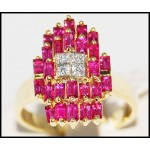 Stunning Baguette cut Ruby and Diamond Solid 18K Yellow Gold Ring [R0068]