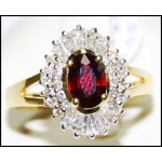 Exclusive Diamond and Ruby Solitaire Ring Solid 18K Yellow Gold [R0136]