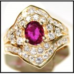 Stunning Diamond and Natural Ruby Ring Solid 18K Yellow Gold [RB0021]