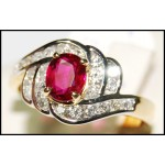 Gorgeous 18K Yellow Gold Exclusive Ruby and Diamond Ring [RB0023]