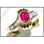 Solitaire Diamond Stunning Ruby 18K Yellow Gold Ring [RS0022]