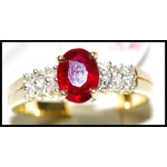Natural Diamond Solitaire Ruby 18K Yellow Gold Ring [RS0032]