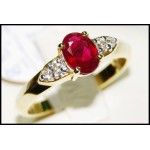18K Yellow Gold Solitaire Diamond Stunning Ruby Ring [RS0094]