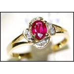 Stunning Ruby Diamond 18K Yellow Gold Ring Solitaire [RS0105]