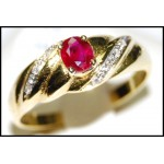 18K Yellow Gold Diamond Ruby Gorgeous Solitaire Ring [RS0111]