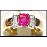 Ruby Solitaire Natural Diamond 18K Yellow Gold Ring [RS0136]