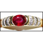 Stunning Diamond 18K Yellow Gold Solitaire Ruby Ring [RS0172]