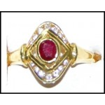 18K Yellow Gold Solitaire Ruby Ring Exclusive Diamond [RS0180]