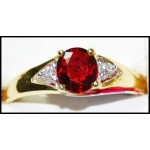 Solitaire Diamond Stunning Ruby Ring 18K Yellow Gold [RS0185]