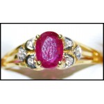 18K Yellow Gold Ruby Stunning Diamond Solitaire Ring [RS0206]