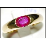 Oval cut Ruby Solid 18K Yellow Gold Natural Solitaire Ring [RS0014]