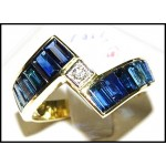 Blue Sapphire Baguette Genuine Diamond 18K Yellow Gold Ring [RQ0005]