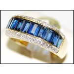 18K Yellow Gold Diamond Gorgeous Blue Sapphire Baguette Ring [RQ0012]
