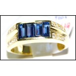 Diamond Baguette Blue Sapphire Ring Natural 18K Yellow Gold [RQ0022]