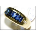 Diamond 18K Yellow Gold Baguette Blue Sapphire Stunning Ring [RQ0025]