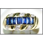 Natural 18K Yellow Gold Diamond Baguette Blue Sapphire Ring [RQ0035]