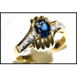 Blue Sapphire Solitaire Estate Diamond 18K Yellow Gold Ring [RS0022]