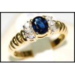 Diamond 18K Yellow Gold Genuine Solitaire Blue Sapphire Ring [RS0041]