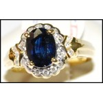 Estate Diamond Solitaire Blue Sapphire Ring 18K Yellow Gold [RS0156]