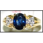 18K Yellow Gold Diamond Genuine Blue Sapphire Ring Solitaire [RS0163]