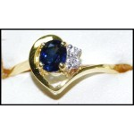 Natural Diamond Solitaire 18K Yellow Gold Blue Sapphire Ring [RS0204]