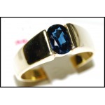 Gemstone Blue Sapphire Solitaire Estate Ring 18K Yellow Gold [RS0069]