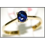 Blue Sapphire 18K Yellow Gold Oval Solitaire Gemstone Ring [RS0209]