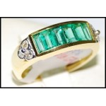 Emerald Gemstone Exclusive Diamond Ring 18K Yellow Gold [RQ0031]